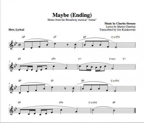 Annie - Maybe - chords and melody - Jim Kulakowski   Composer ...
